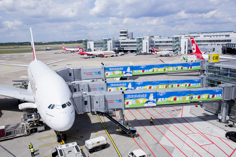 Since July 1, the company Henkel declared on the passenger boarding bridges of Dusseldorf Airport the anniversary